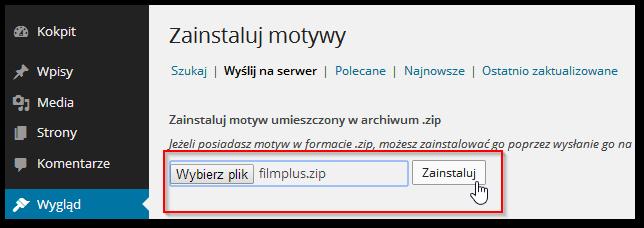Przesyłanie pliku z motywem na serwer