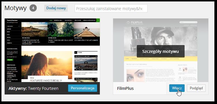 Aktywowanie nowego motywu w Wordpressie