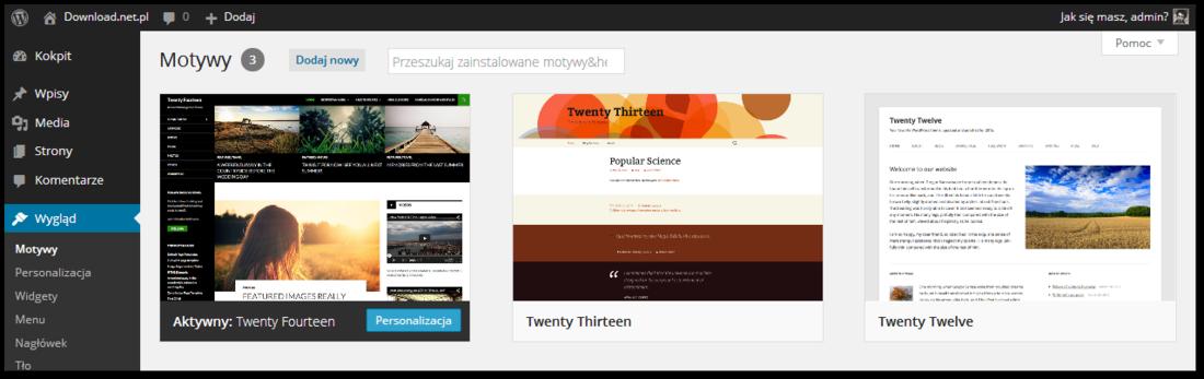 Wordpress - dostępne motywy w panelu administratora