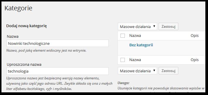 Wordpress - Tworzenie nowej kategorii