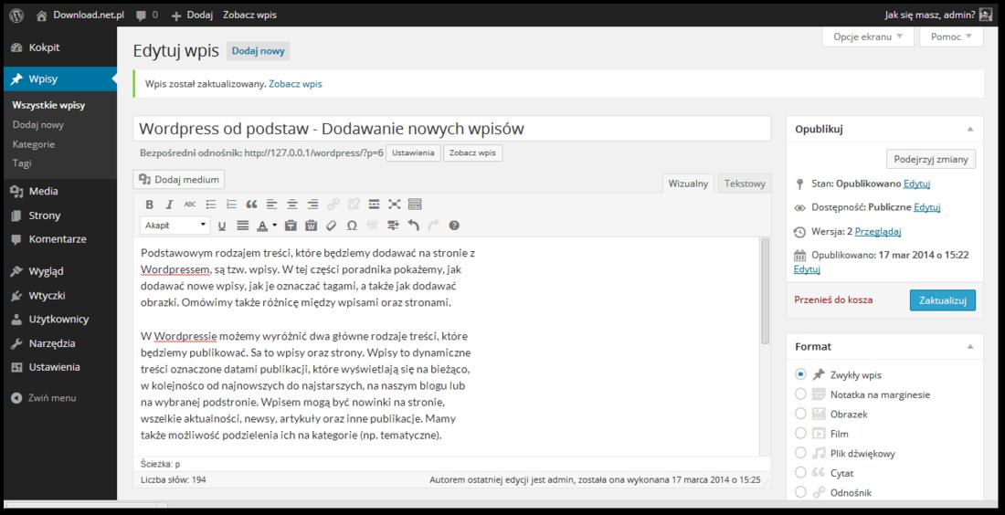 Dodawanie wpisów w Wordpressie