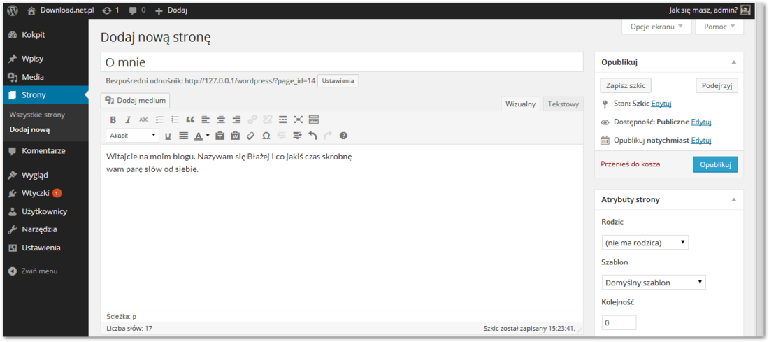Wordpress - ekran dodawania strony