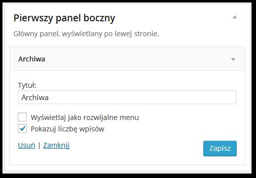 Edycja widgetu w WordPressie