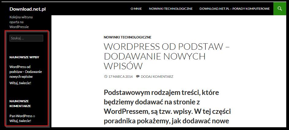 Domyślne widgety w standardowym motywie WordPressa