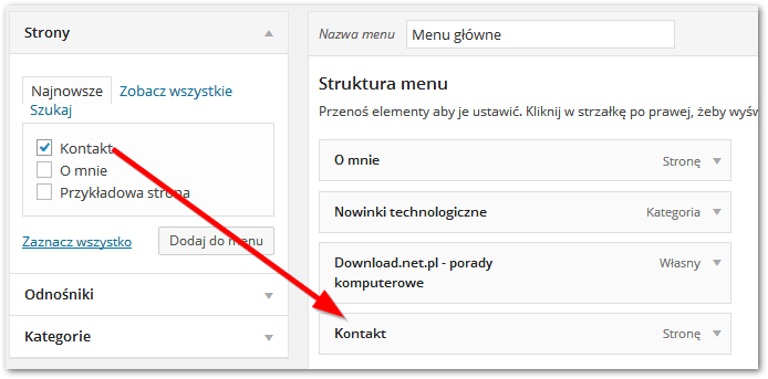 Dodawanie strony kontaktowej do menu w Wordpressie