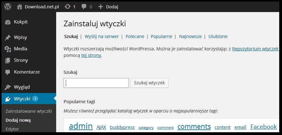 Wyszukiwanie wtyczek z poziomu panelu admina Wordpressa