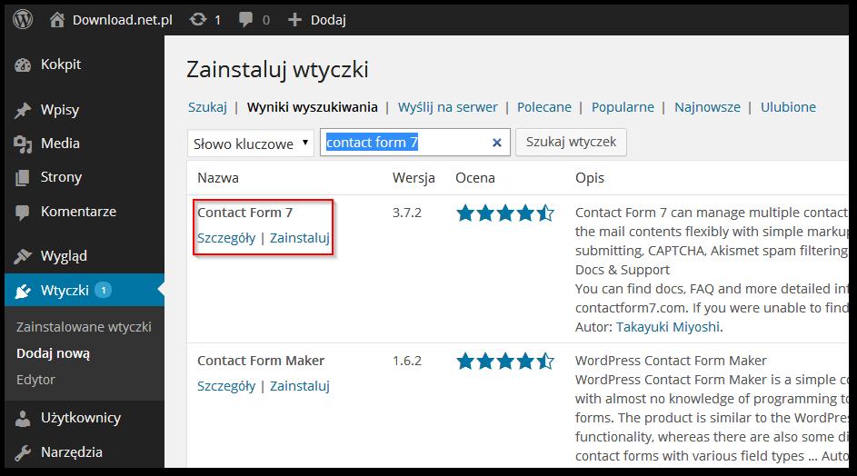 Wordpress - wyszukiwania i instalacja wtyczki z poziomu panelu admina