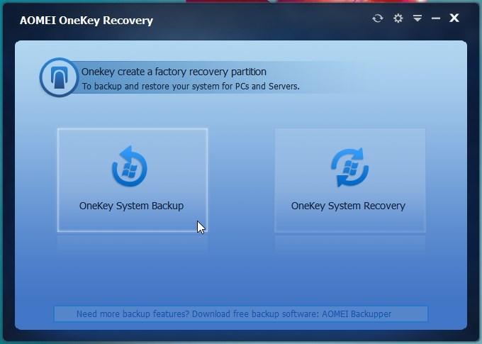 Tworzenie partycji Recovery w AOMEI OneKey Recovery