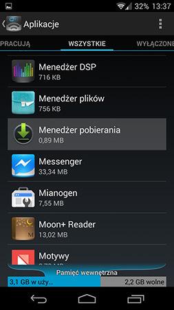 Szczegóły menedżera pobierania w Androidzie