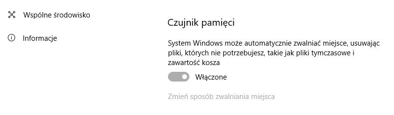 Włącz czujnik pamięci w Windows 10