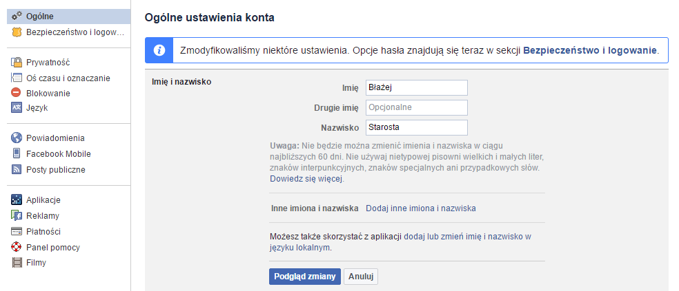 Zmiana imienia i nazwiska na Facebooku