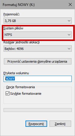 Formatowanie pendrive jako NTFS