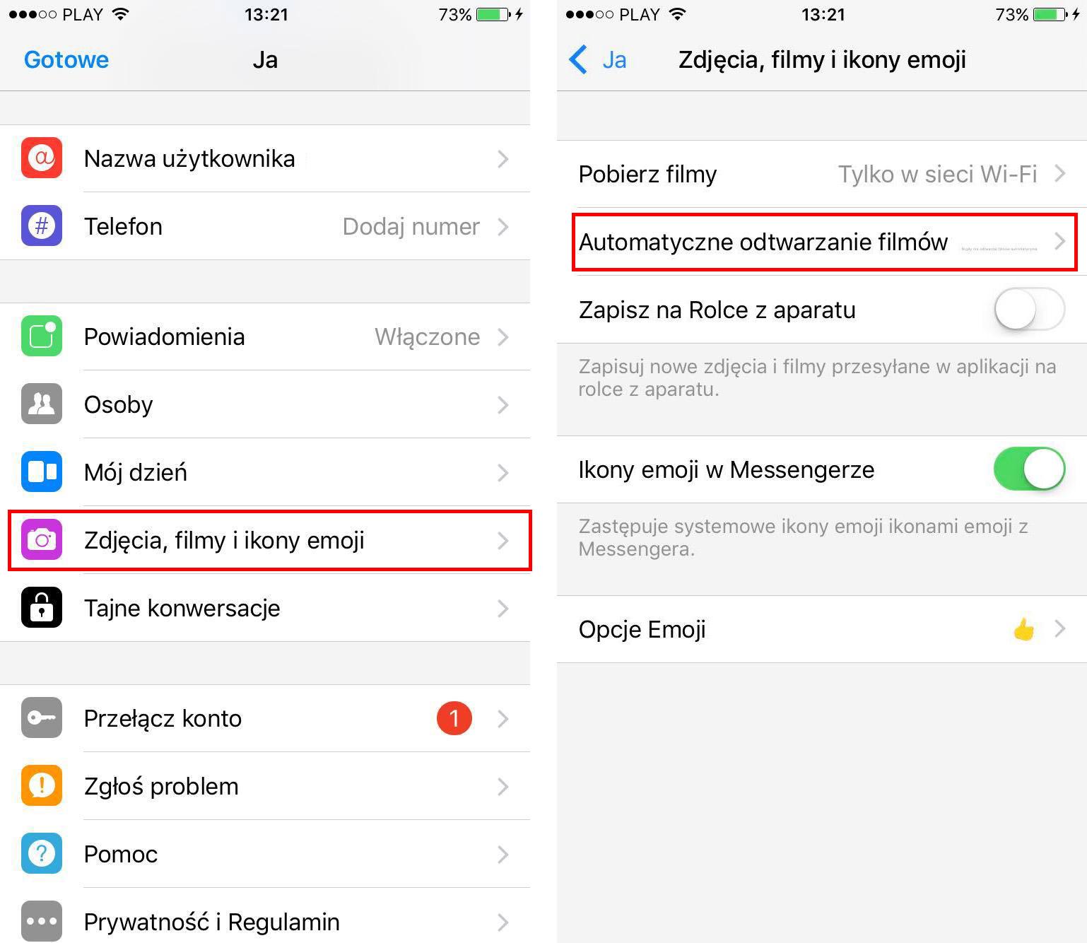 Wyłączanie automatycznego odtwarzania filmów w Messengerze