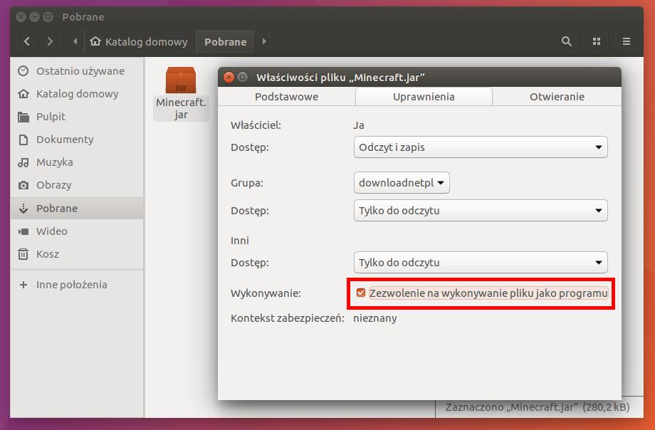 Zezwól na wykonywanie pliku jako programu - Ubuntu