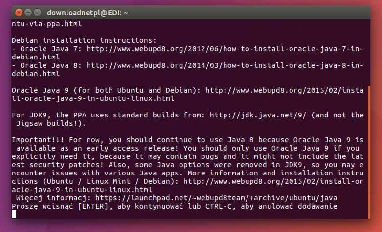 Dodaj repozytorium Javy do Ubuntu