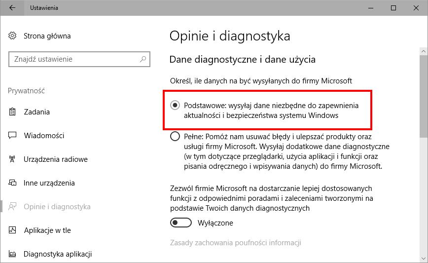 Ustaw prostą telemetrię w ustawieniach Windows 10