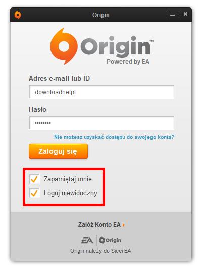 Zaloguj do Origin
