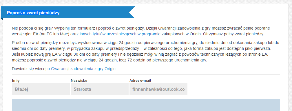 Poproś o zwrot pieniędzy na Origin