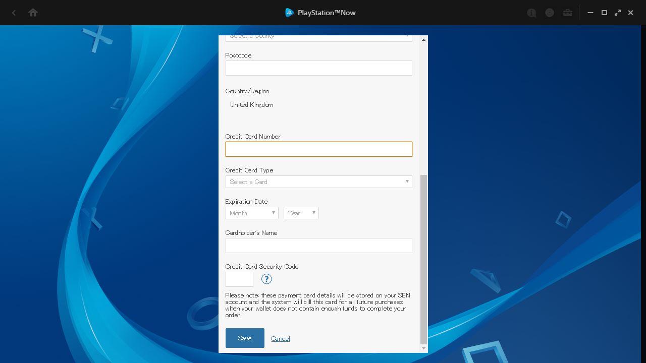 Dodaj dane do karty kredytowej na koncie w PSN