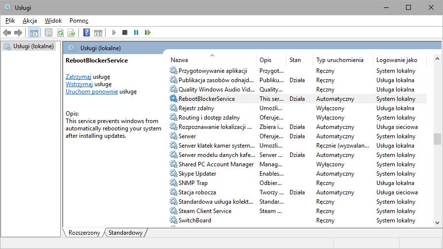 Reboot Blocker - blokada automatycznych restartów w Windows 10