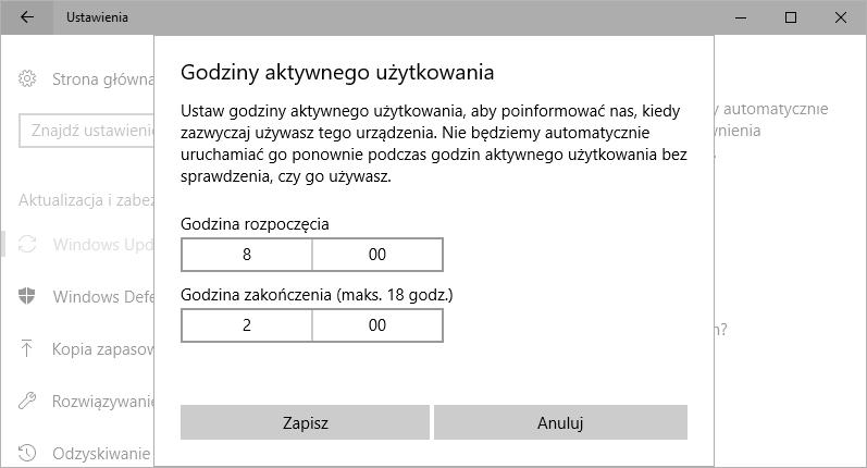 Ustawianie godzin aktywnego użytkowania w Windows 10