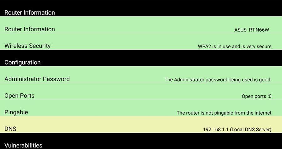 Informacje o stanie bezpieczeństwa routera w RouterCheck na Androidzie
