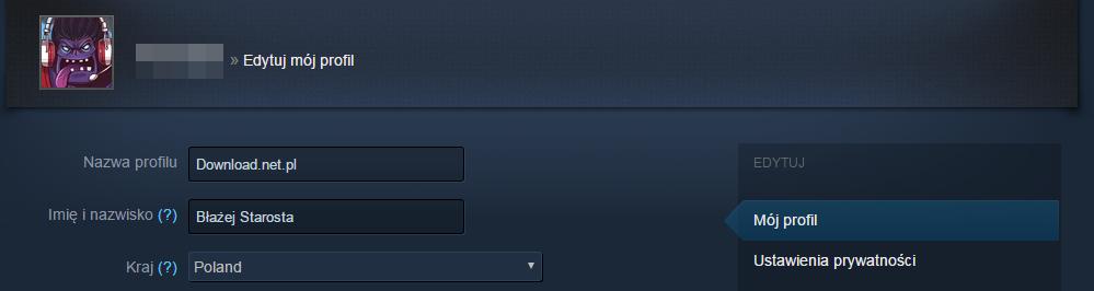 Edytuj nazwę profilu Steam