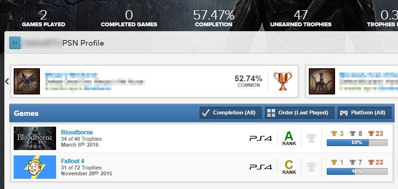 PSN Profiles - wybór gry