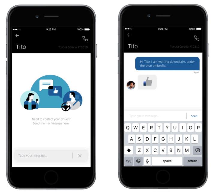 Wyślij wiadomość do kierowcy w Uber