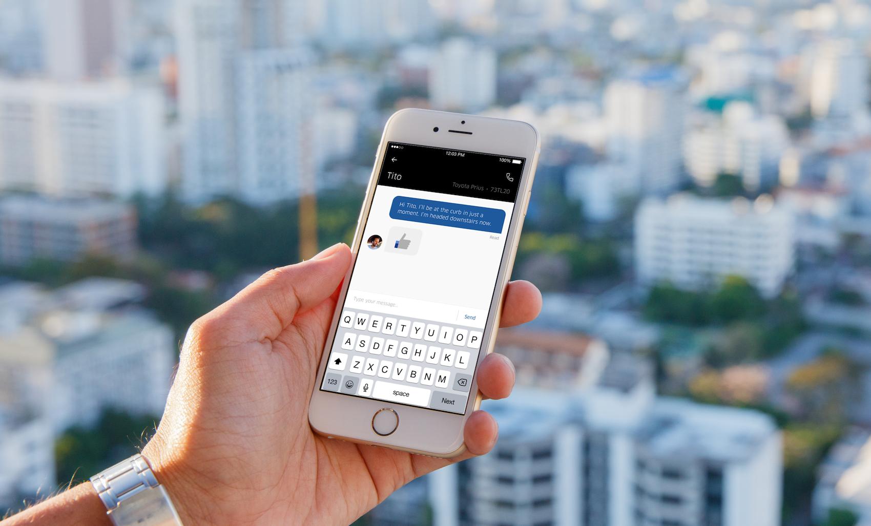 Uber - wysyłanie wiadomości do kierowcy lub klienta