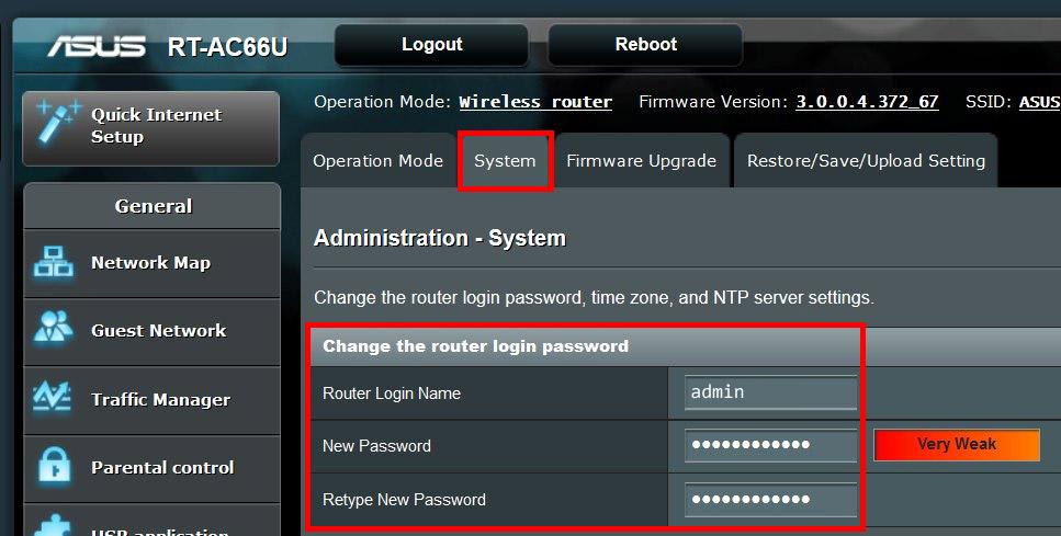 Zmiana hasła do routera ASUS