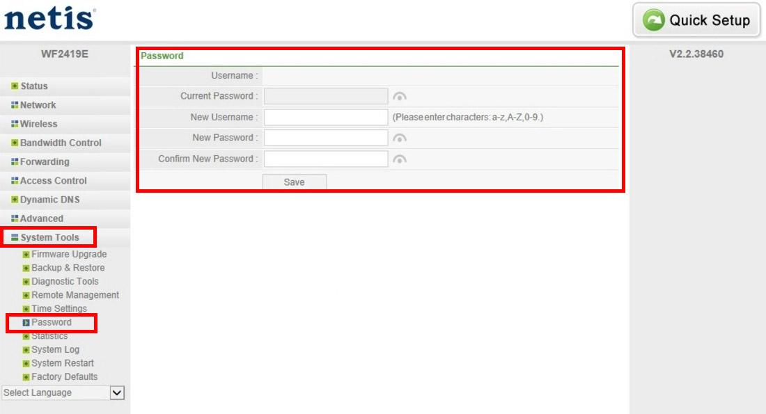 Zmiana hasla do routera Netis