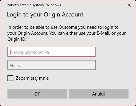 Zaloguj się na konto Origin w Outcome