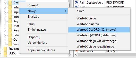 Utwórz nową wartość DWORD 32-bitową