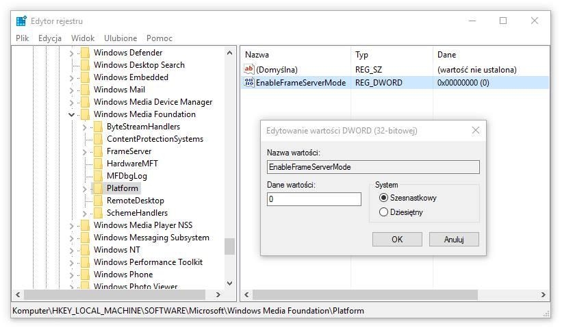 Tworzenie wpisu EnableFrameServerMode w kluczu Platform