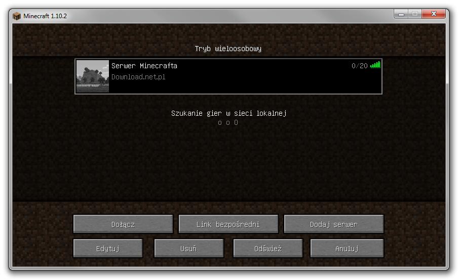 Serwer Minecrafta w przeglądarce serwerów