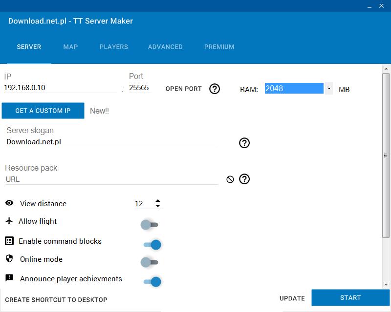 Ustawienia - zakładka Server