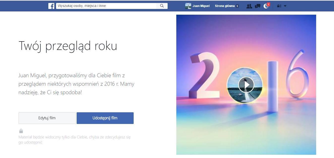 Twój przegląd roku na Facebooku