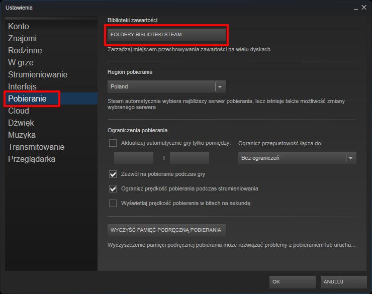 Ustawienia folderów Steam
