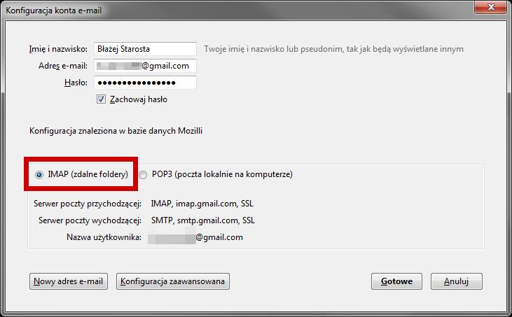 Konfiguracja nowego konta jako IMAP