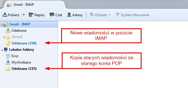 Skrzynka IMAP z kopią starych wiadomości w folderach lokalnych
