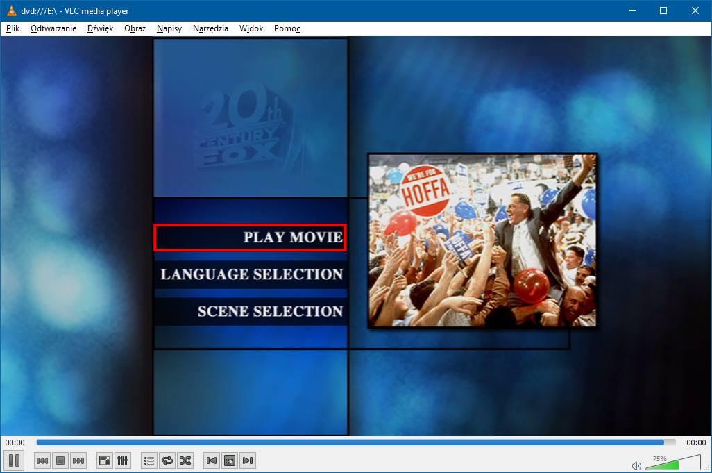 VLC - odtwarzanie DVD (menu filmu)