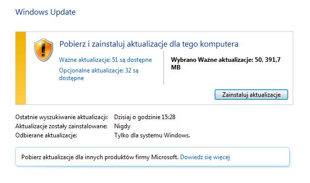 Działające aktualizacje Windows Update