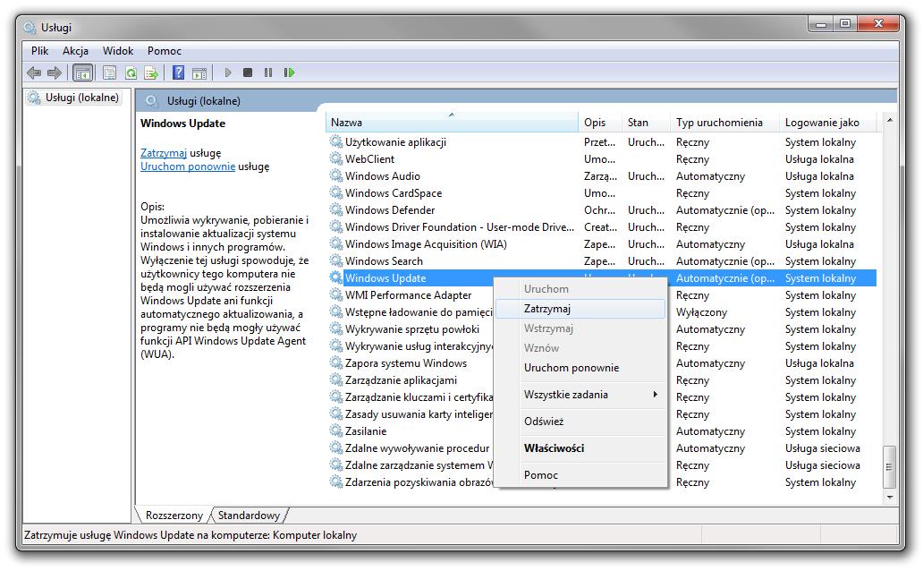 Zatrzymywanie usługi Windows Update