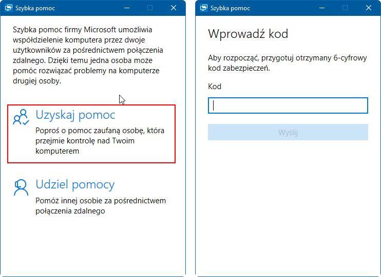 Uzyskiwanie pomocy w Windows 10