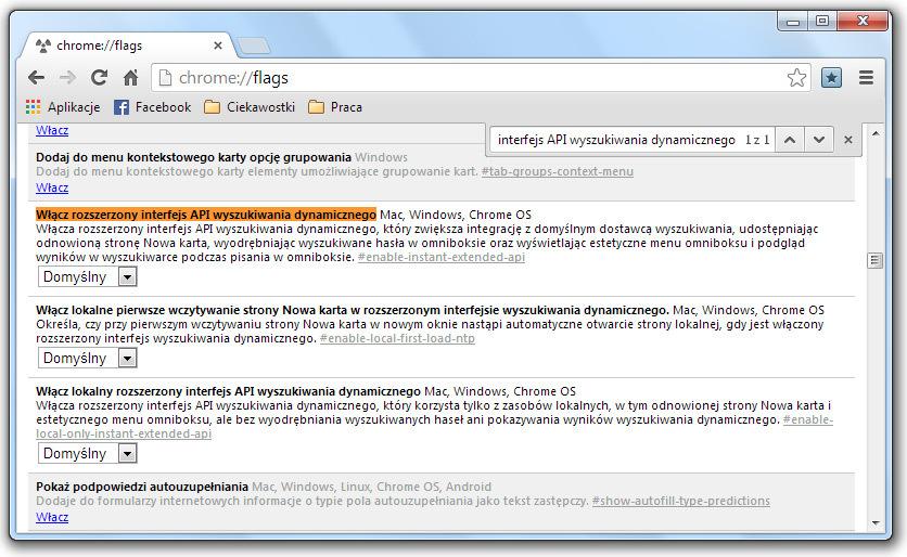 Chrome - Rozszerzony interfejs API