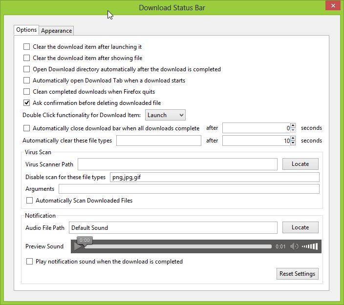 Ustawienia dodatku Download Status Bar