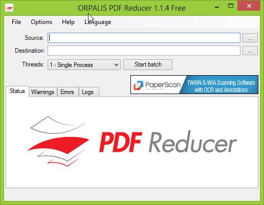 Orpalis PDF Reducer Free - główne okno programu