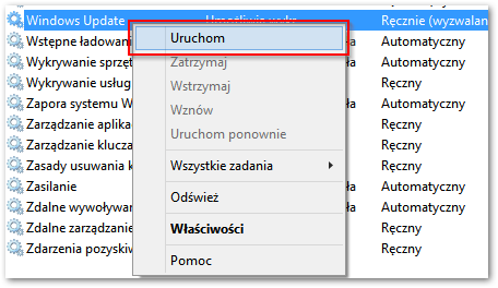 Ponowne uruchamianie usługi Windows Update