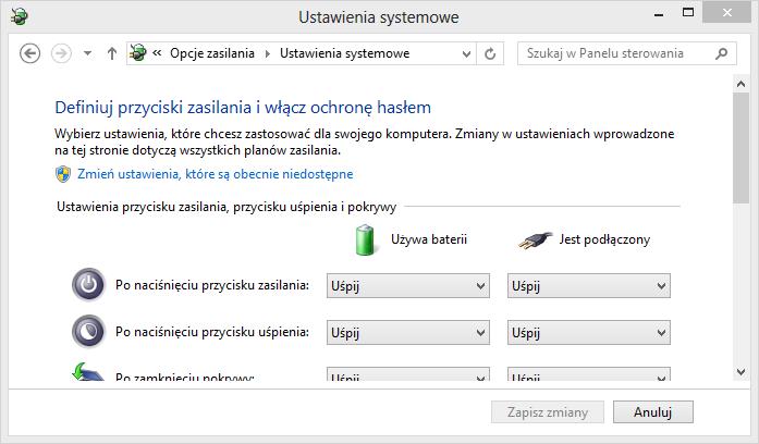 Ustawienia zasilania w Windows 8